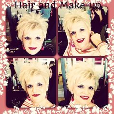 Kay R, cut and toning of her platinum, and make-up application