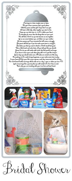 Here is a great idea for a Bridal Shower gift. This is a free printable poem that has the names of cleaning supplies cleverly worded in the poem #bridalshower #giftidea #free printable #redomom.com
