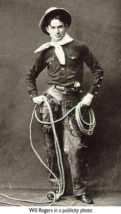 Young Will Rogers, Oklahoma Cowboy. Probably taken for the Ziegfield Follies.