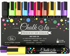 Premium Chalk Pens - Set of 10 neon colour markers. Used on Chalkboards, Windows, Labels, Bistros, Ceramic, Glass, Whiteboards. Water based wet wipe erasable pens - Fine tip, Odor Free, Quick Dry, Washable Dry Erase markers - liquid chalk - 6 mm Bullet Tip. Chalkola http://www.amazon.co.uk/dp/B00VVOWCSC/ref=cm_sw_r_pi_dp_PbsIvb1EGAZWK