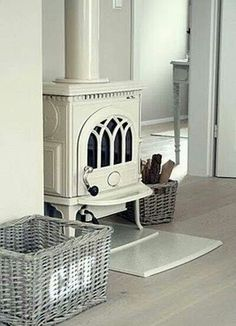 Antique white fireplace