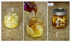 "Who knew.... Winter sore throat ""tea"". In a jar, combine lemon slices, organic honey and sliced ginger. Close jar and put it in the fridge, it will form into a ""jelly"". To serve: Spoon jelly into mug and pour boiling water over it. Store in fridge 2-3 months. Adults Only - Add shot or two of Whiskey to your mug, good for chest colds"