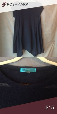 Long, sheer navy blue top Bought at Francesca's, barely worn. Size medium, sheer. Perfect to wear with leggings because it's covers your tush. And you can layer it with jewelry Francesca's Collections Tops Blouses