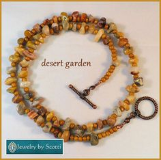 Single Strand Brown and Gold Agate Necklace by JewelryByScotti