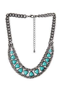 This faux stone necklace paired with other necklaces.  Forever 21