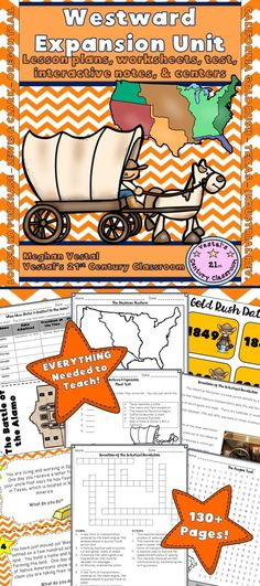 Everything you need to teach a unit on the Westward Expansion can be found in this 2 week, 133-page unit!  Lessons cover topics related to the Louisiana Purchase, the Lewis and Clark expedition, when states were added to the Union, Texas, the Oregon Trail, the California gold rush, the Industrial Revolution, and voting rights (15th and 19th Constitutional amendments).