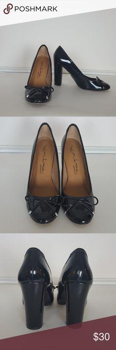 "Nina Orginals Nappa Leather High Heels SZ 8 ""Dynasty"" from Nina Orginals. Black Nappa Patent Leather Dress Loafers. Bow detail with silver tips. 4"" Heel. 8 Medium. Very Good Condition- slight wear to soles. Nina Orginals Shoes Heels"