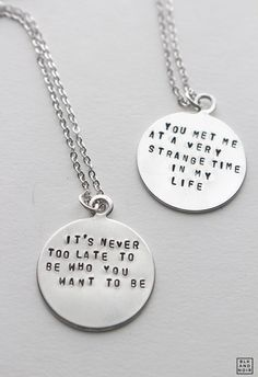 Personalized Circle Necklace . Custom Quote Necklace by BLKANDNOIR