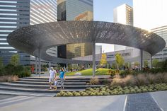 SWA Group has designed Pacific Plaza, a new public park that transforms the experience of the central business district in downtown Dallas. Pacific Plaza is the first of an ambitious four-park initiative spearhe. Landscape Plaza, Landscape Elements, Landscape Architecture Design, Urban Architecture, Urban Landscape, Landscape Structure, Classical Architecture, Ancient Architecture, Sustainable Architecture