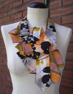Prudence Upcycled Necktie Collar Scarf by BuffaloBlueDesigns, $48.00