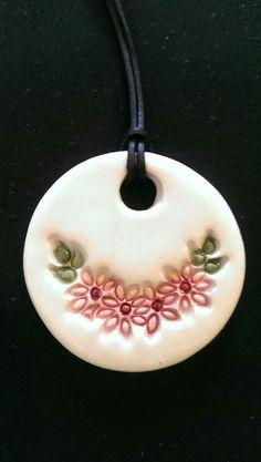 Ceramic pendant /Özlem Menekay Ceramic Necklace, Ceramic Pendant, Ceramic Jewelry, Ceramic Beads, Polymer Clay Jewelry, Ceramics Projects, Polymer Clay Projects, Clay Crafts, Ceramic Pottery