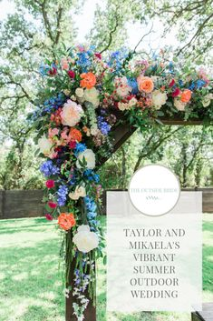 Taylor and Mikaela's vibrant outdoor wedding, Texas. A beautiful outdoor wedding filled with bright floral design and DIY wedding features. Rainy Wedding, Wedding Stage, Outside Wedding, Wedding Sets, Summer Wedding, Wedding Blog, Wedding Ceremony, Outdoor Wedding Photography, Outdoor Wedding Venues