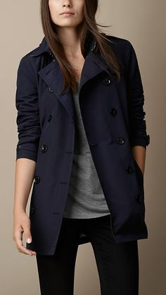 Navy Leather Trim Technical Cotton Trench Coat - Image 1