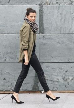 black pants, black heels, black top, army green jacket, leopard scarf