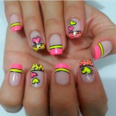 Perfect Summer Gel Nails Art Designs and Ideas – Gel Nails Love Nails, Pink Nails, Pretty Nails, Bright Nails, Creative Nail Designs, Toe Nail Designs, Nails For Kids, French Tip Nails, Nail Decorations