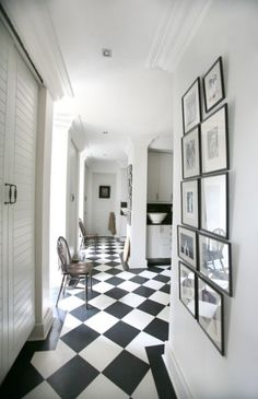 Bold, black and white chequered floor layered diagonally