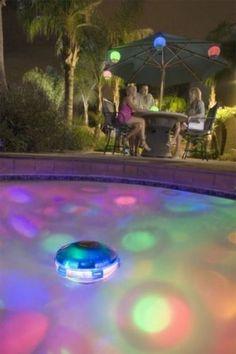 Underwater Light Starship // swimming pool LED light show Swimming Pool Lights, My Pool, Pool Fun, Floating Pool Lights, Floating Candles, Underwater Lights, Pool Accessories, Pool Floats, Cool Pools