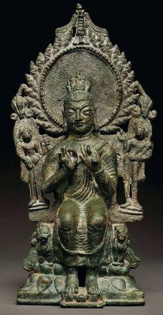 犍陀羅藝術弥勒佛犍陀罗5-6世纪24.6cm. 金銅佛