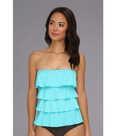 MICHAEL Michael Kors Ruffle Solids Cascading Front Ruffle Tankini Turquoise - Zappos.com Free Shipping BOTH Ways