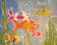 Kids can paint anything in our gallery! These are some paintings made especially for them! Canvas And Cocktails, Sip N Paint, Window Design, Paint Party, Cool Kids, Stained Glass, Crafts For Kids, Paintings, Fish