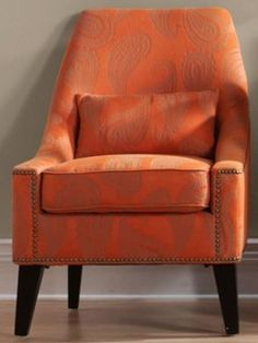 Hazelton Lounge Chair, Orange Paisley - contemporary - chairs -  - by Home Decorators Collection