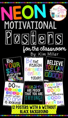 BRIGHT NEON COLORS with BLACK CHALKBOARD STYLE or WHITE #1: 6ebf44a3138c565e602c214f4a89df4c teacher posters classroom posters
