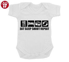 Funny Eat Sleep Shoot Repeat Design Baby Bodysuit White with Black Print (*Amazon Partner-Link)