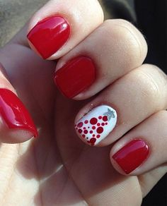 Red Prom Nail Design With One White Dotted Nail