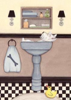 West highland terrier (westie) fills sink at bath time / Lynch folk art print