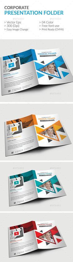 Corporate Business Presentation folder Design Template - Stationery Design Print Template Vector EPS, AI Illustrator. Download here: https://graphicriver.net/item/presentation-folder/19328430?ref=yinkira