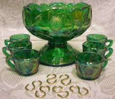 Mosser Glass Hunter Green Carnival Mini Punch Bowl Set | eBay