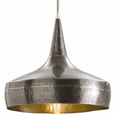 Pendants: Mason Wide Pendant (#42414). Mixed metal hammered iron pendent with dark silver exterior and interior accented with a brass weld. Silver mesh cord.