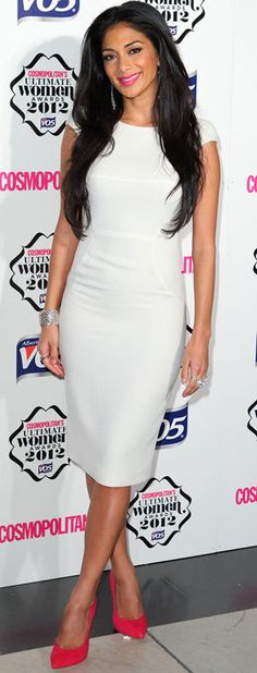 Love this - white dress and classy red shoes