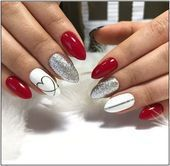 Nail art Christmas - the festive spirit on the nails. Over 70 creative ideas and tutorials - My Nails Red Gel Nails, Cute Acrylic Nails, Acrylic Art, Red And Silver Nails, Red Nail Art, Acrylic Colors, Nail Colors, Holiday Nails, Christmas Nails
