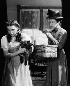 """The pretty Judy Garland as Dorothy and Margaret Hamilton who played the horribly mean Miss Gulch THE SADDEST LINE ON FILM. """"Put him in the basket Henry"""". together in The Wizard of Oz. The Merv Griffin Show in 1968 was a memorable renunion of the pair. Wizard Of Oz Movie, Wizard Of Oz 1939, Old Movies, Great Movies, Margaret Hamilton, Land Of Oz, The Worst Witch, Yellow Brick Road, Judy Garland"""