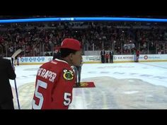 Chicago artist Chance the Rapper shot the puck during the second intermission on Friday night.