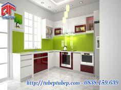 Mẫu tủ bếp Acrylic gam màu trẻ trung năng động MTB04