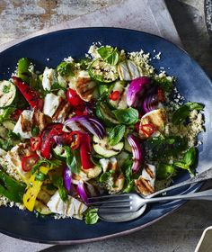 Have a generous plate of grilled vegetables with a little smattering of halloumi for a salad with real bite and flavour.