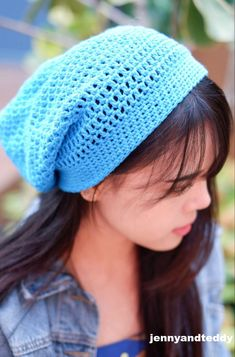 simple double crochet slouch beanie hat perfect for beginner made with cotton ya.:separator:simple double crochet slouch beanie hat perfect for beginner made with cotton ya. Crochet Slouchy Beanie Pattern, Crochet Hat For Beginners, Beginner Crochet, Crochet Gloves, Crochet Accessories, Double Crochet, Free Crochet, Couture, Crochet Stitches
