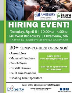 Doherty Job Fair: Tuesday, April 8 in Owatonna for Truth Hardware, 20+ job openings