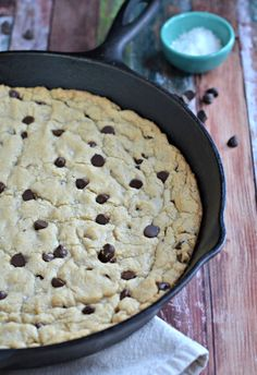 Chocolate Chip Skillet Cookie. This the BEST. Sprinkled with a touch of sea salt, this is better than a regular chocolate chip cookie! mountainmamacooks.com