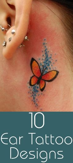 Top 10 Ear Tattoo Designs : Here are top 10 ear tattoo designs that can be worn inside or behind the ear. Have a look