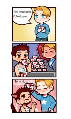 """suppiedoodles: """"A thank you mini Stony comic to the wonderful and kind supporters who donated to my Ko-fi ; Steebe cares about Tony's health and Caffeine intake(Maybe a lil jealous too lol) """" Stony Avengers, Superfamily Avengers, Baby Avengers, Avengers Comics, Spideypool, Stony Superfamily, Marvel Tony Stark, Marvel Funny, Marvel Memes"""