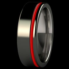 Black and red men's wedding band