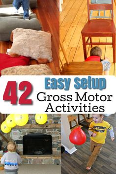 Easy to setup Gross Motor Activities for preschoolers and toddlers! These are fun ways to get kids moving both indoors and outdoors. Over 40 ideas! - Education and lifestyle Movement Activities, Kids Learning Activities, Creative Activities, Indoor Activities, Therapy Activities, Infant Activities, Toddler Gross Motor Activities, Montessori Activities, Creative Play