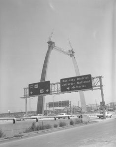 1965, before the Poplar Street Bridge and I-55... and a completed Arch!