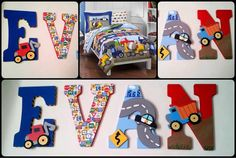 PRICE IS PER LETTER NOT PER NAME  THESE LETTERS ARE INSPIRED BY Kids Bedding Construction Trucks, Police Cars, Tractors, Boys Twin Comforter Set.