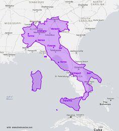 Map comparison size of Italia and Florida with cities - Carte Comparaison de la taille de l' Italie et de la Floride - avec villes