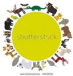 Animal round frame, bison bat manatee fox elk horse wolf fur seal Polar bear Mountain goat raccoon Eagle skunk parakeet Jaguar narwhal elk Grizzly gannet Muskox alligator.