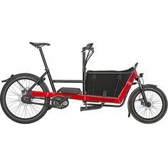 Vélo électrique cargo (châssis avec espace cargo de 40 cm) fabriqué par Riese & Müller, équipé d'un Nexus 8 vitesses, d'un moteur Bosch Active + batterie 11Ah.